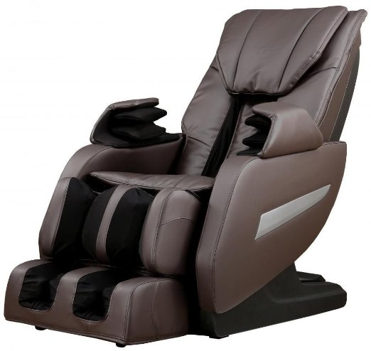 Brown Full Body Zero Gravity Shiatsu Massage Chair Recliner 3D Massage Heat